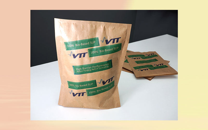 VTT has developed stand-up pouches from renewable raw materials and nanocellulose