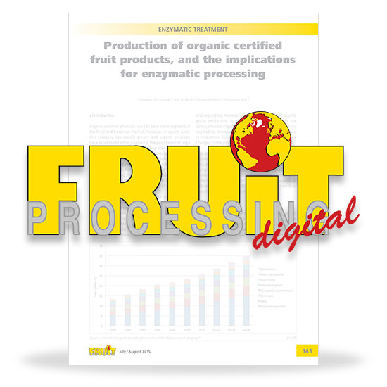 Production of organic certified fruit products, and the implications for enzymatic processing