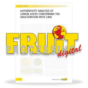 Authenticity analysis of lemon juices concerning the adulteration with lime