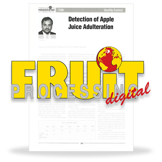 Detection of apple juice adulteration