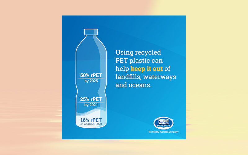 Nestlé Waters North America expands use of 100 % recycled plastic (rPET) in three additional brands, doubles rPET use across U.S. domestic portfolio