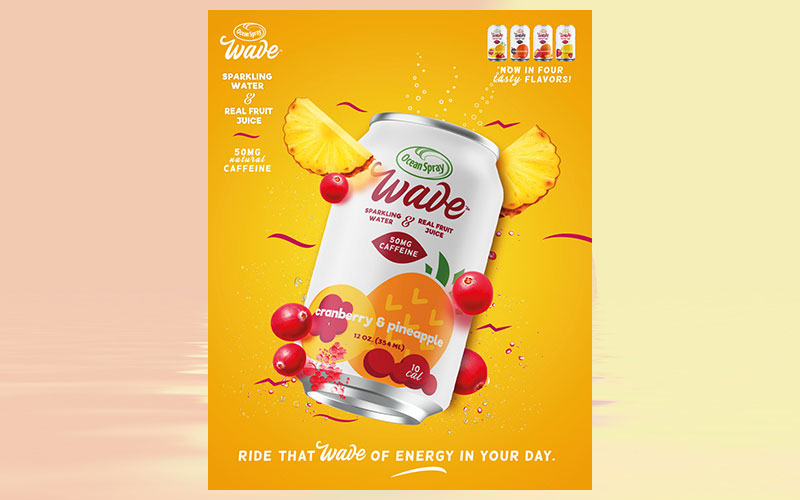 Ocean Spray launches Ocean Spray Wave™, a caffeinated sparkling water with real fruit juice