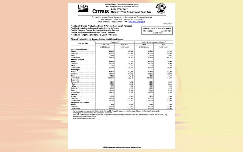 USDA: Florida citrus April 2021 forecast