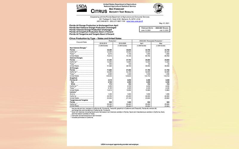 USDA: Florida citrus May 2021 forecast