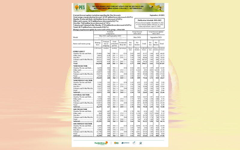 Brazil: 2021-2022 orange crop forecast update for the Sao Paulo and West-Southwest Minas citrus belt – September 2021